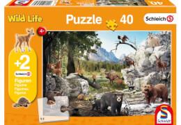 Schmidt Puzzle 56239 Schleich Die Tiere des Waldes, 40 Teile, ab 4 Jahre